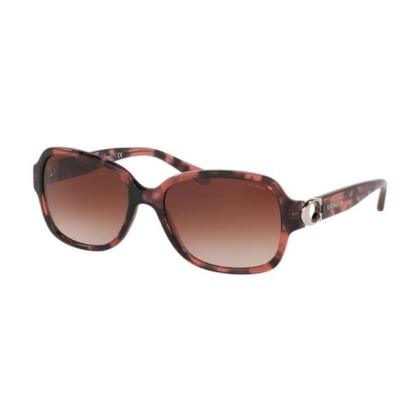 Coach HC8241F 557713 57 Pink Tortoise Woman Rectangle Sunglasses. Opens flyout.