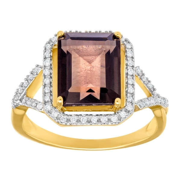 3 1/3 ct Smoky Quartz and 1/6 ct Diamond Ring in 14K Gold - Brown