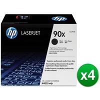 HP 90X High Yield Black Original LaserJet Toner Cartridges (CE390X)(4-Pack)