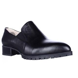 Nine West Lightning Lug Sole Pointed Toe Slip On Loafers - Black