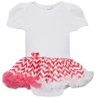 Wenchoice Baby Girls White Pink Chevron Tutu Short Sleeve Bodysuit