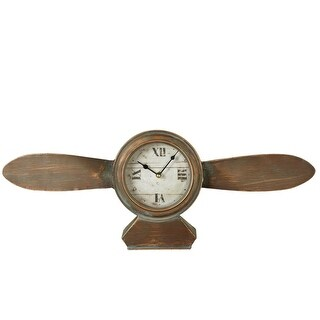 "24"" Distressed Brown Nautical Themed Longshore Tides Propeller Desk Clock"