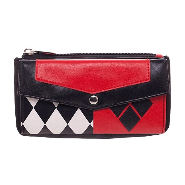 DC Comics Harley Quinn Front Flap Womens Wallet, Red/Black/White, One Size - One Size Fits most