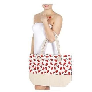 "Heimish Girls Tan Watermelon Print Shoulder Strap Roomy Bag (23 X 18 X 6"") - One size"