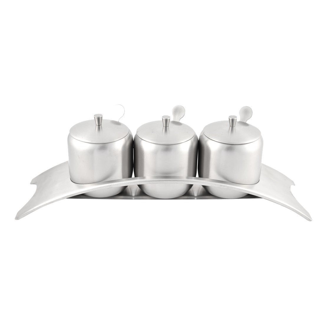 Unique Bargains Stainless Steel Condiment Spice Server Container Jar Set w Pedestal