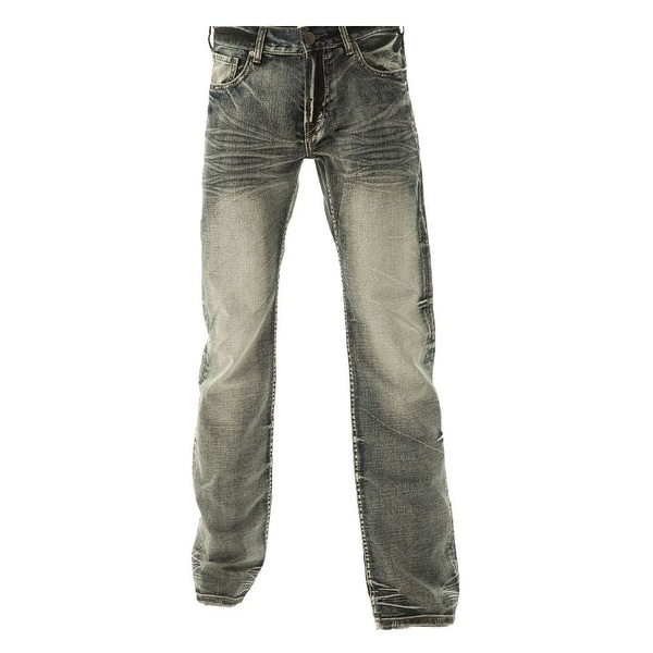 B. Tuff Western Denim Jeans Mens Throttle Bleach Wash
