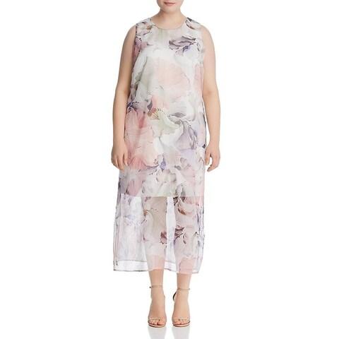 Vince Camuto Womens Plus Maxi Dress Floral Print Tent