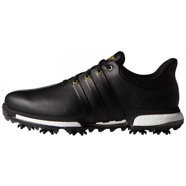 bc107e69d92109 Adidas Men  x27 s Tour 360 Boost Black Gold Metallic Golf Shoes F33250