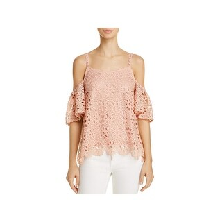 En Crème Womens Pullover Top Crochet Cold Shoulder