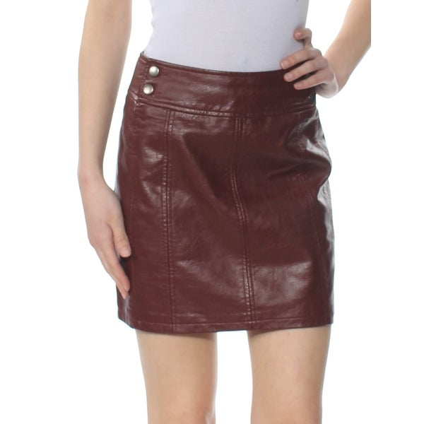 4aeee21b3d Shop FREE PEOPLE Womens Burgundy Faux Leather Mini Skirt Size: 12 - Free  Shipping On Orders Over $45 - Overstock - 28390777