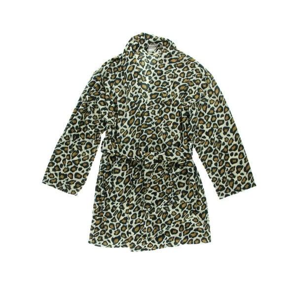 Aegean Apparel Womens Short Robe Plush Leopard Print