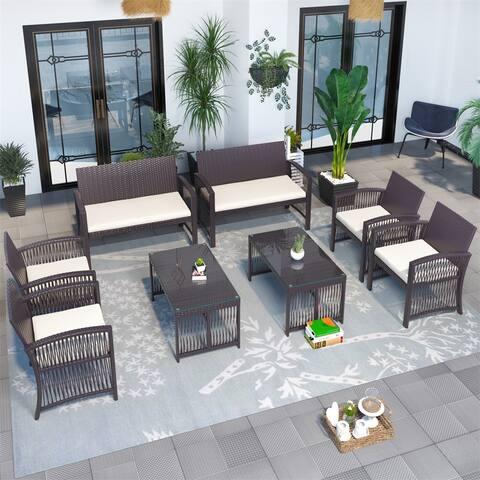 8 Pieces Outdoor Furniture Rattan Chair & Table Patio Set Outdoor Sofa for Garden