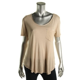 Calvin Klein Jeans Womens Distressed Scoop Neck Pullover Top - L