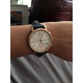 Fossil Women's ES3838 'Original Boyfriend' Chronograph Blue Leather Watch - Gold