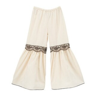 Little Girls Ivory Black Lace Trim Flared Cotton Boho Chic Bell Pants