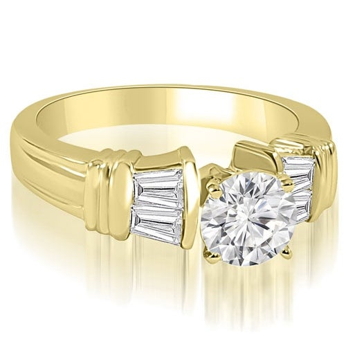 1.30 cttw. 14K Yellow Gold Antique Style Round Baguette Diamond Engagement Ring
