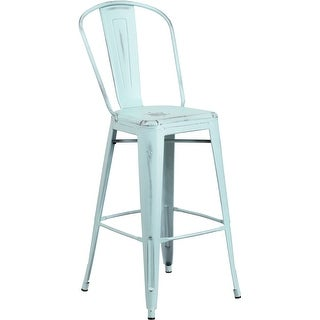 Brimmes 30'' High Distressed Green-Blue Metal Indoor/Outdoor/Patio/Bar Barstool w/Back