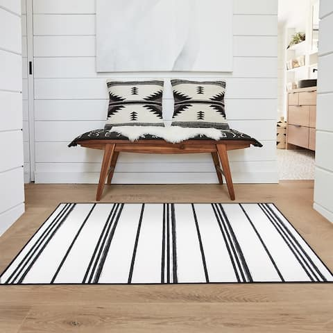 My Magic Carpet Machine Washable Area Rug Stripe Black And White