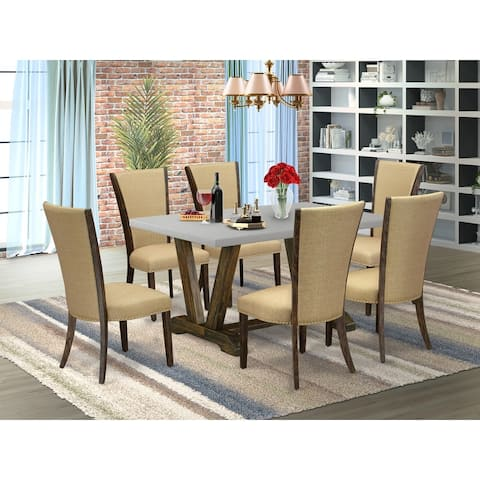 Kitchen Table and Parsons Dining Chairs with Linen Fabric (Finish and Pieces Option)