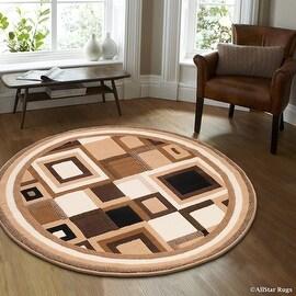 "Allstar Brown Round Abstract Modern Area Carpet Rug (4' 11"" x 4' 11"")"