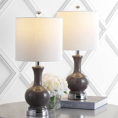 """Cox 22"""" Metal/Glass LED Table Lamp, Gray (Set of 2) by JONATHAN Y"""