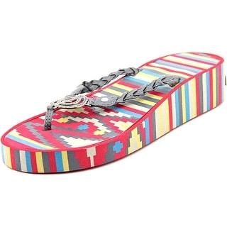 Muk Luks Sierra Wedge Open Toe Synthetic Thong Sandal