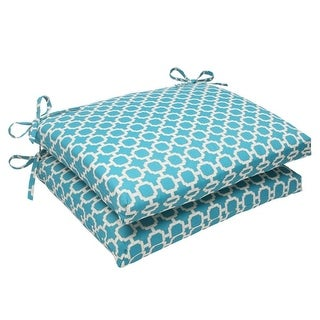 """Set of 2 Moroccan Mosaic Blue Outdoor Furniture Square Chair Cushions 18.5"""""""