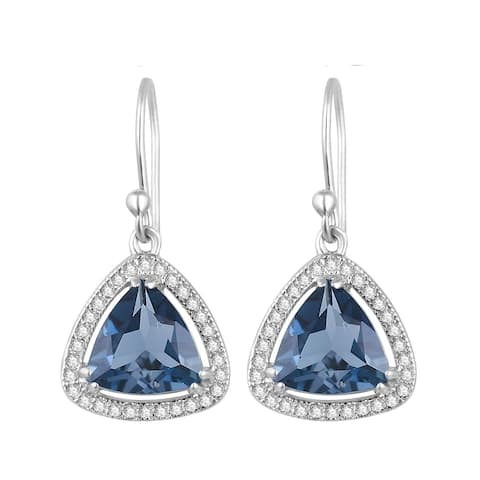 Sterling Silver with Natural London Blue Topaz and White Topaz Dangling Earring