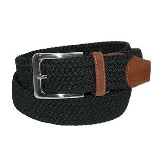 CTM® Men's Elastic Braided Stretch Belt with Silver Buckle and Tan Tabs