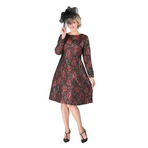 Giovanna Signature 1pc Lux Brocade A-line Dress w/ Piping