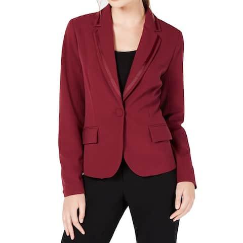 XOXO Dark Red Size XL Junior's Single Button Seamed Blazer Jacket