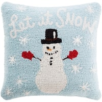 "18"" Baby Blue and Snow White Winter ""Let it SNOW"" Holiday Christmas Throw Pillow –Down Filler"