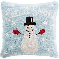 "18"" Baby Blue and Snow White Winter ""Let it SNOW"" Holiday Christmas Throw Pillow Cover"