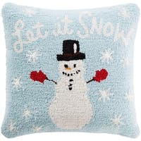 "18"" Baby Blue and Snow White Winter ""Let it SNOW"" Holiday Christmas Throw Pillow"