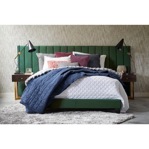 King One Box Channeled Wall Upholstered Emerald Green Bed