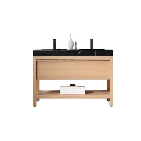 "BIOS 48"" Chestnut/Whitewash Freestanding Modern Bathroom Vanity Set"