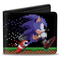 Sonic Classic Sonic Running + Rings Pixelated Bi Fold Wallet - One Size Fits most