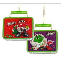 "Club Pack of 24 Chocolate Shop M&M Mini Tin Lunch Box Christmas Ornaments 3.25"" - multi"