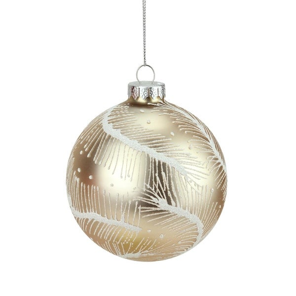 """4"""" Matte Copper Peach and White Glitter Feathers Glass Ball Christmas Ornament"""