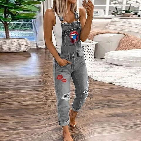 Women's Overalls Printed Washed Jeans