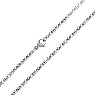 Bling Jewelry Stainless Steel Round Rolo Chain Necklace Unisex 3mm