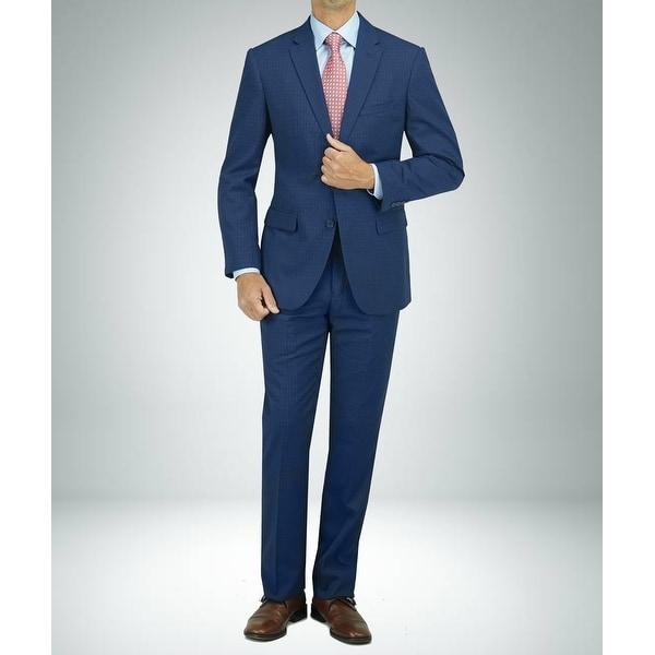 Carlo Studio Blue Cross-Weave Pattern Modern-Fit Suit. Opens flyout.