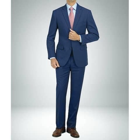 Carlo Studio Blue Cross-Weave Pattern Modern-Fit Suit