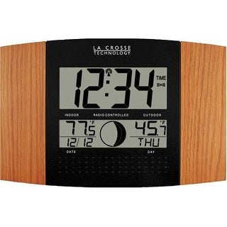 La Crosse Technology LCR8117UITOAKM Digital Atomic Clock with Outdoor Temperature