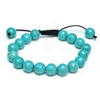 Bling Jewelry Reconstituted Turquoise Beads Bracelet 11mm - Blue