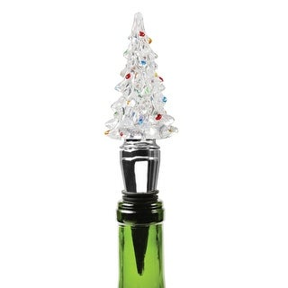 What on Earth Christmas Tree Wine Stopper - LED Lighted Color Changing - 6 in.