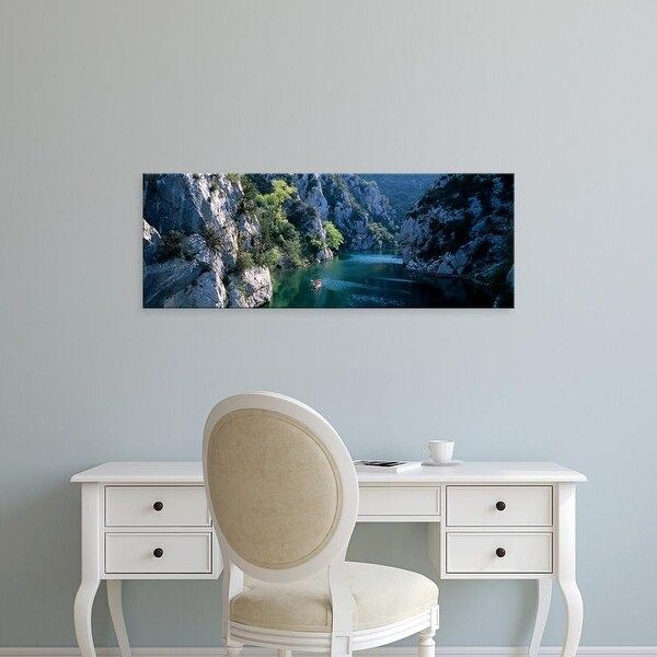 Easy Art Prints Panoramic Images's 'River Flowing Between Mountains, Verdon River, France' Premium Canvas Art