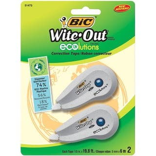 BIC White-Out Brand Ecolutions Correction Tape, 1/5 x 237 in, Pack of 2|https://ak1.ostkcdn.com/images/products/is/images/direct/d822b6939177fb4093159ce5fe9d8d5cd67fb6a4/BIC-White-Out-Brand-Ecolutions-Correction-Tape%2C-1-5-x-237-in%2C-Pack-of-2.jpg?impolicy=medium