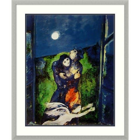 Framed Art Print 'Lovers in the Moonlight' - 27x32-inch
