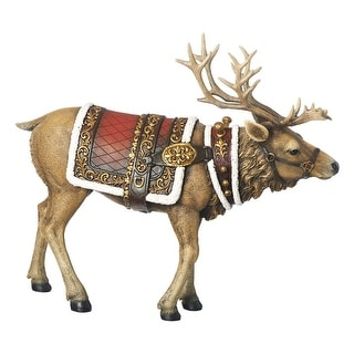 """Roman 90462ACE Christmas Reindeer Walking Figurine, Resin, 14-1/2"""""""